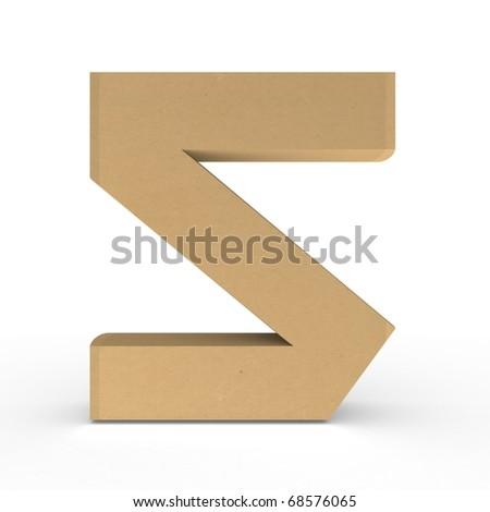 Cardboard number on white background