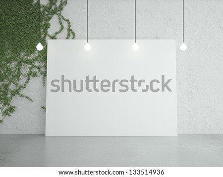 cardboard on wall and ivy - stock photo
