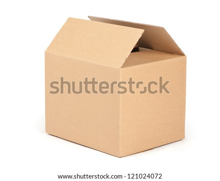 cardboard packaging box isolated on white background - stock photo