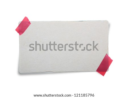 Cardboard paper  with masking tape isolated on white background