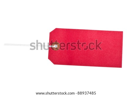 Cardboard red label isolated against white - stock photo