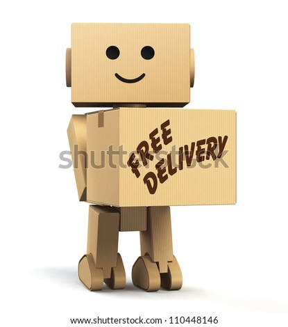 "cardboard robot  carrying a box, with ""free delivery"" text - stock photo"