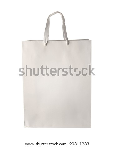 Cardboard shopping bag template isolated on white background. Included clipping path, so you can easily cut it out and place over the top of a design. - stock photo