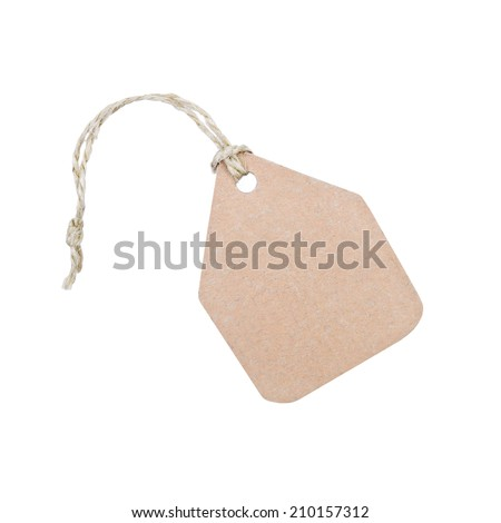 cardboard tag with ribbon isolated on white background