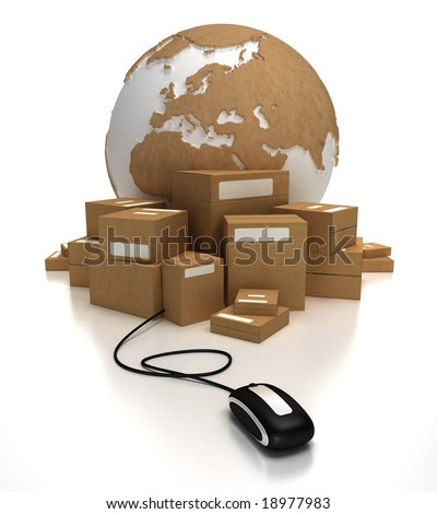 Cardboard textured world with a heap of packages connected to a mouse - stock photo