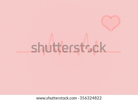 Cardiac Frequency with heart shape. - stock photo