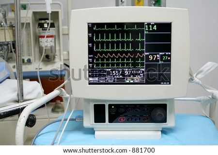 Cardiac monitor displaying patient's ekg tracing