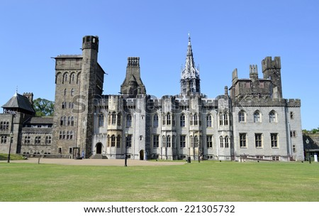 Cardiff castle and blue sky  - stock photo