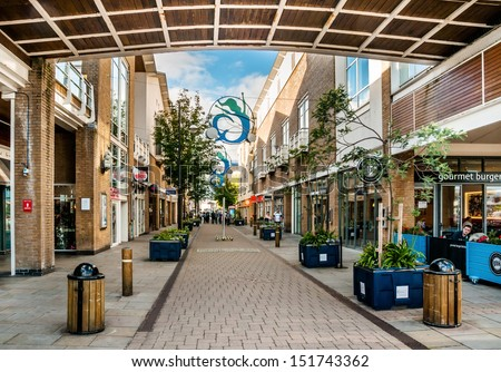 CARDIFF, UK - SEP 8: Pedestrian zone on Bute Street on September 8, 2010 in Cardiff, UK. Cardiff is the capital of Wales and its largest city and tenth largest city in the United Kingdom. - stock photo