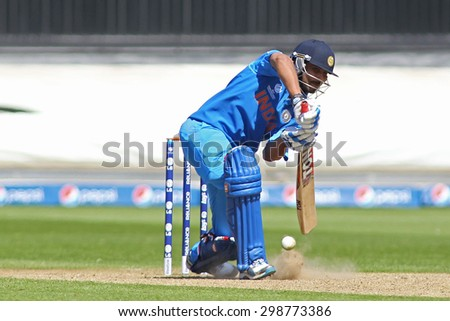 CARDIFF, WALES - June 04 2013: India's Ravindra Jadeja during the ICC Champions Trophy warm up match between India and Australia at the Cardiff Wales Stadium on June 04, 2013 in Cardiff, Wales - stock photo