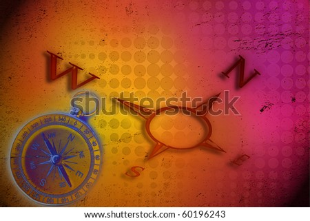 Cardinal points and compass on colorful background