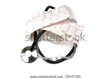 cardiogram and stethoscope against white background - stock photo