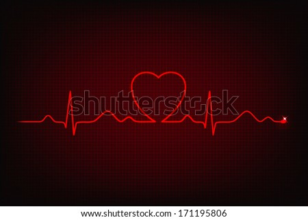 Cardiogram of love and health. Cardiogram line forming heart shape