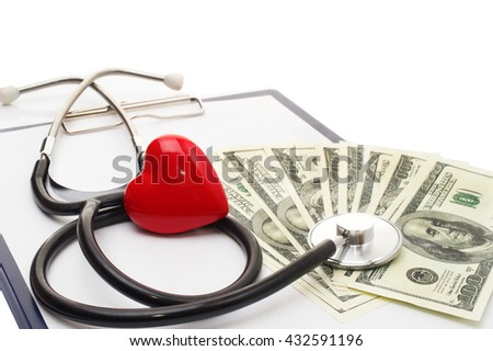 Cardiogram with red heart, stethoscope and dollars, closeup. medical treatment and cost concept - stock photo