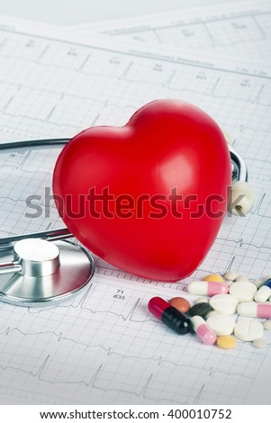 Cardiogram with stethoscope and red heart