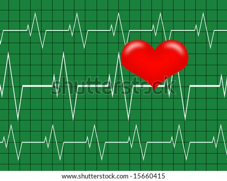 Cardiology concept. Graph and Heart, Heartbeat on  green monitor - stock photo