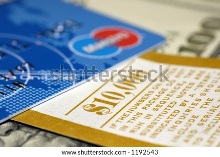 cards and cash - stock photo