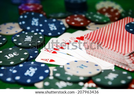 Cards and chips for poker close-up - stock photo