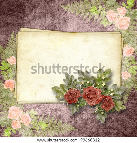 Cards for greeting or invitation on the vintage background. - stock photo