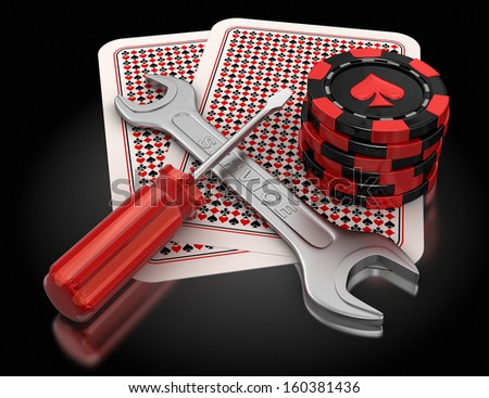 cards, gambling chips and tools  - stock photo