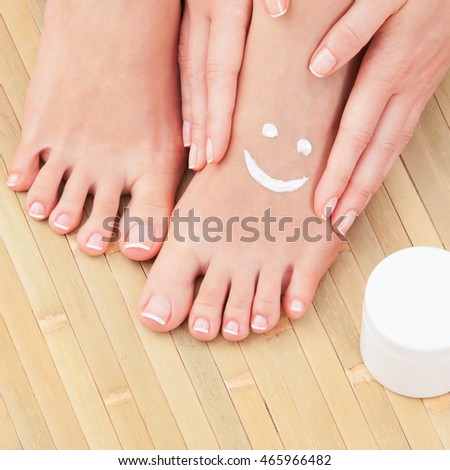 Care for beautiful woman skin. Pedicure and manicure
