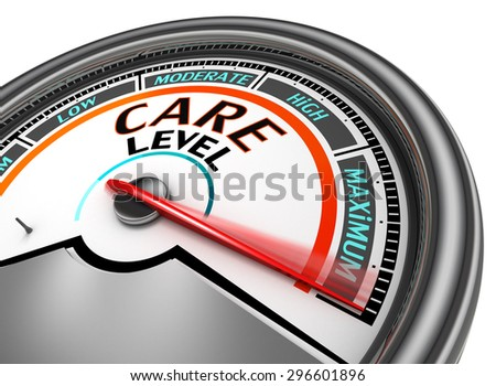 care level conceptual meter indicate maximum, isolated on white background - stock photo