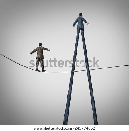 Career advantage business concept as a businessman walking on a high wire tightrope being passed by another better equipped person with long legs as a metaphor for personal skills. - stock photo