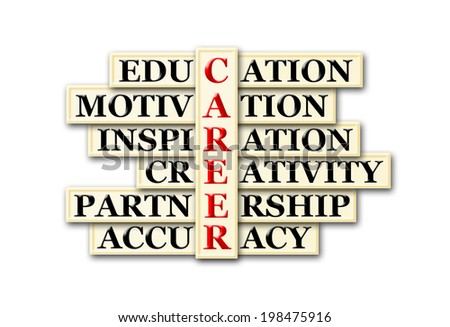 Career and other related words in acronym , handwritten in crossword - stock photo