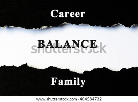 Career, balance and family concept word under torn paper - stock photo