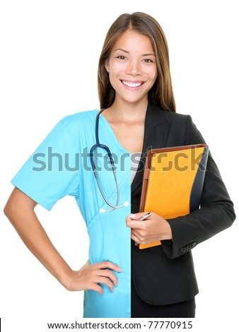 Career choice concept. Woman split half and half in businesswoman and medical doctor / nurse. Young smiling woman isolated on white background - stock photo