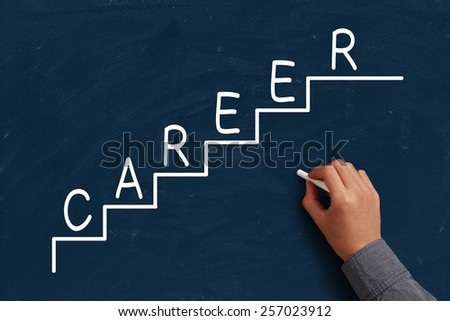 Career Concept on blue chalkboard with the hand of businessman. - stock photo