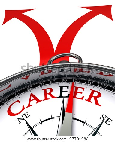 career cross roads concept compass with red word and two arrows on white background clipping path included - stock photo