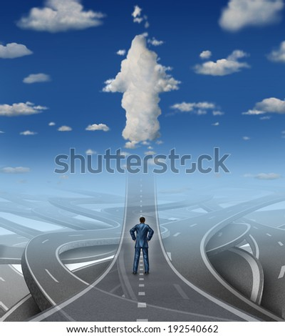 Career development business concept as a businessman standing in front of a group of tangled roads and streets with one highway leading to an arrow cloud as a metaphor for leadership in a crisis. - stock photo