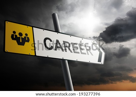 Career direction. Yellow traffic sign with cloudy sky in the background. - stock photo