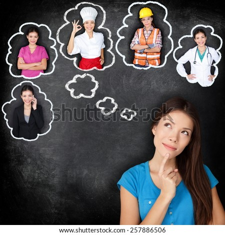 Career education choice options - student thinking of future education. Young Asian woman contemplating career options smiling looking up at thought bubbles on a blackboard with different professions - stock photo