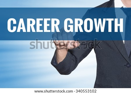 Career Growth word Business man touching on blue virtual screen - stock photo