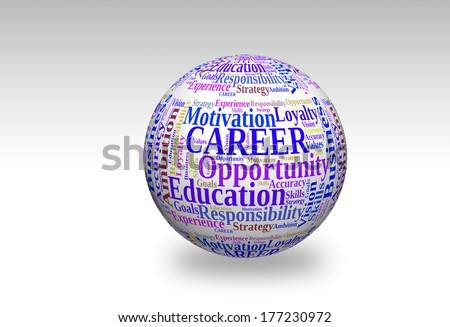 Career in word cloud on 3d sphere  - stock photo