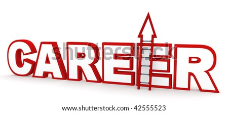 Career Ladder. Career concept in 3D, depicting climbing up a career ladder. - stock photo