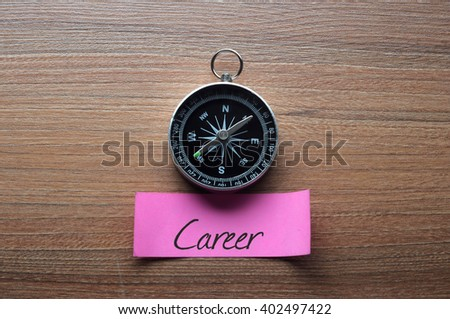 Career : Motivation advice handwriting on label with compass - stock photo