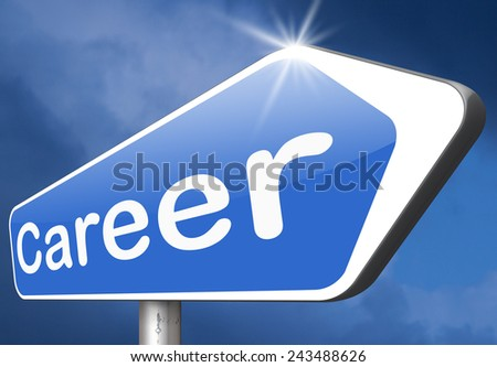 career move and ambition for personal development a nice job promotion or the search for a new job build your career or job road sign arrow  - stock photo