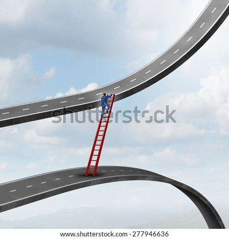 Career move business concept as a businessman climbing a ladder of success away from a road going down to a path rising up as a metaphor for timing strategy and seeking new promising opportunities.