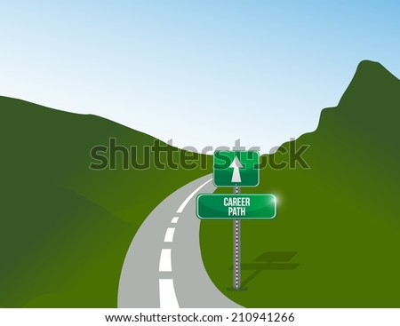 career path landscape road illustration design background
