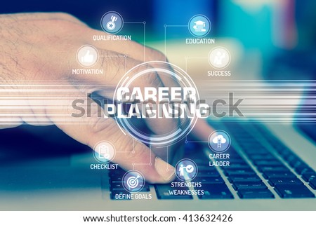 CAREER PLANNING TECHNOLOGY COMMUNICATION TOUCHSCREEN FUTURISTIC CONCEPT - stock photo