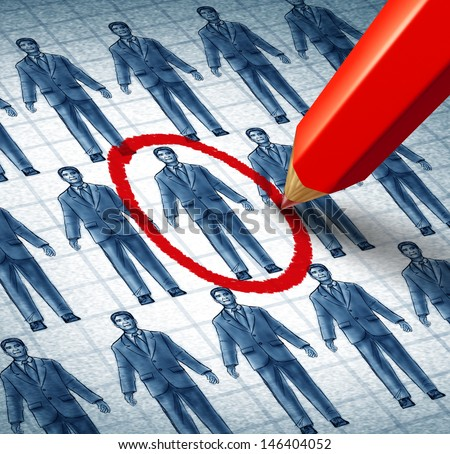 Career search and job searching hiring the right candidate as an employment concept with drawings of businessmen with a red pencil selecting the most qualified leader as a symbol of recruitment. - stock photo