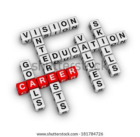 career settings (red-white crossword series) - stock photo