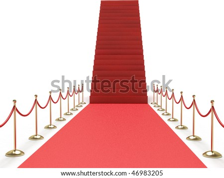 Career stairs. Red carpet