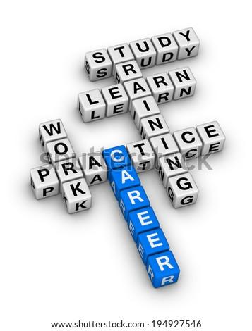 career steps crossword puzzle - stock photo