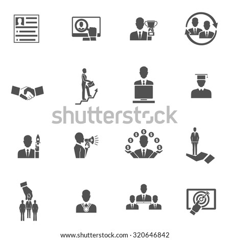 Career steps work progress staff training black icons set isolated  illustration