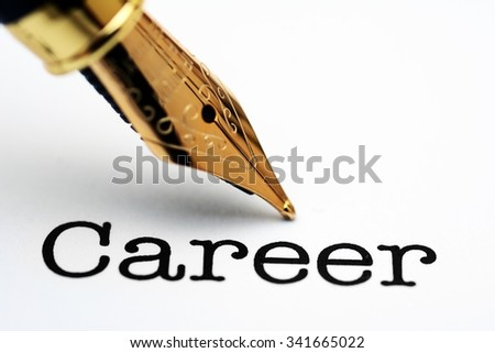 Career  text and fountain pen - stock photo