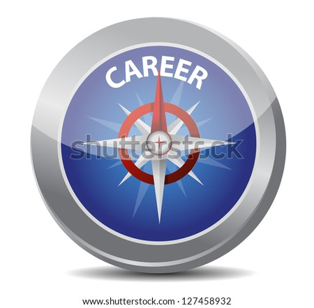 career the way indicated by compass illustration design over white - stock photo